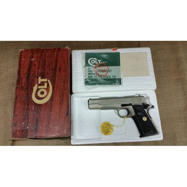 Colt 1911A1 Series 70 in Satin Nickel 45cal. Orignal Box