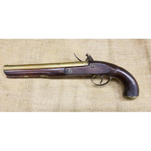 English Brass Barrelled Flintlock Pistol by Phillips